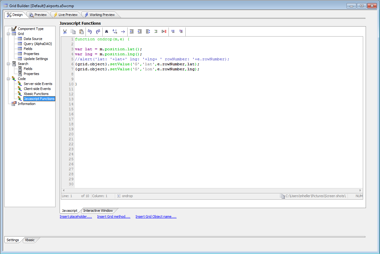 Alpha Five JavaScript editor