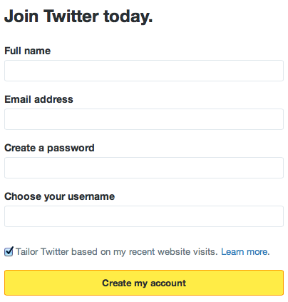Signup on Twitter