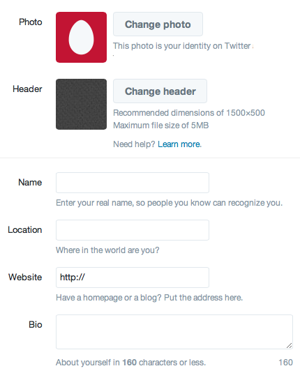 Create your Twitter profile