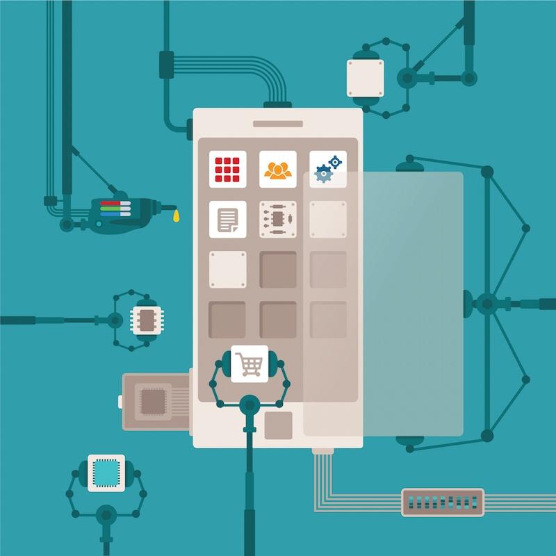 Vector concept of mobile software application development process