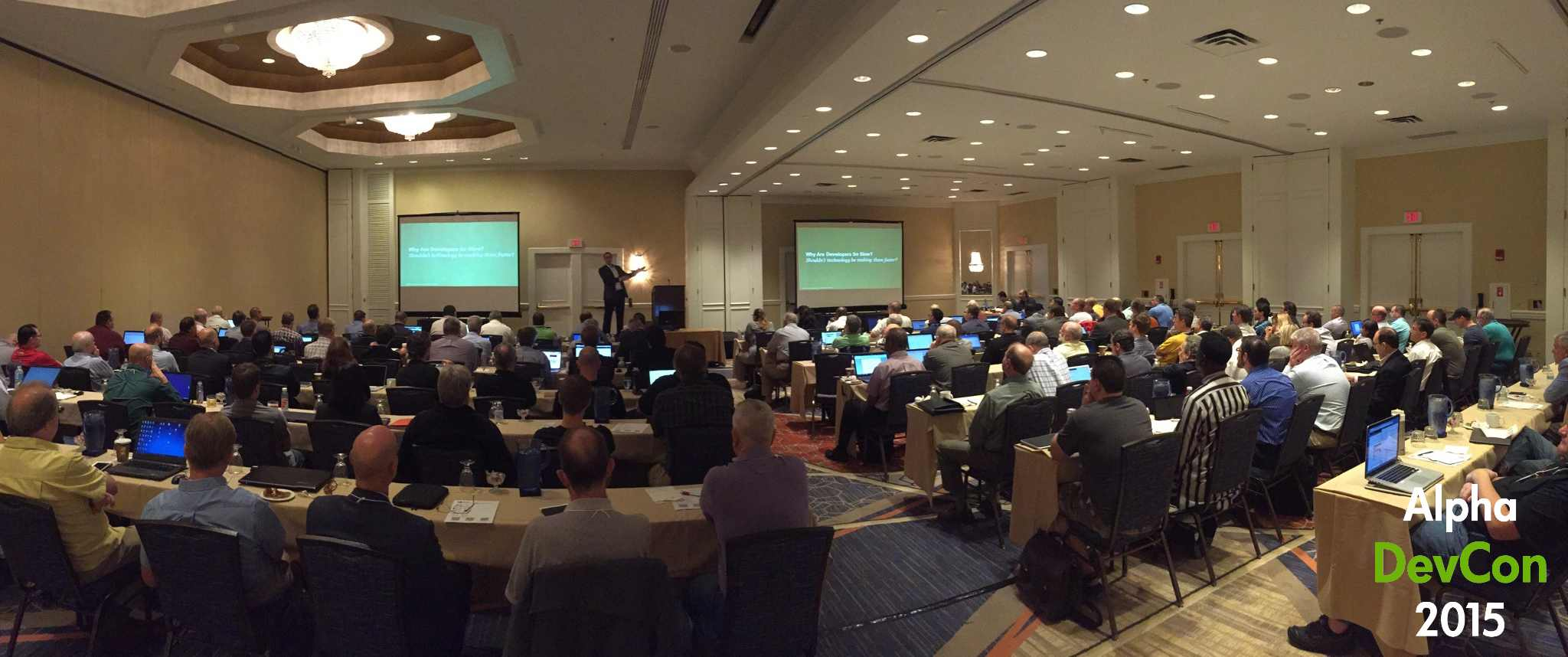 Michael Facemire of Forrester Research addresses attendees at Alpha DevCon 2015