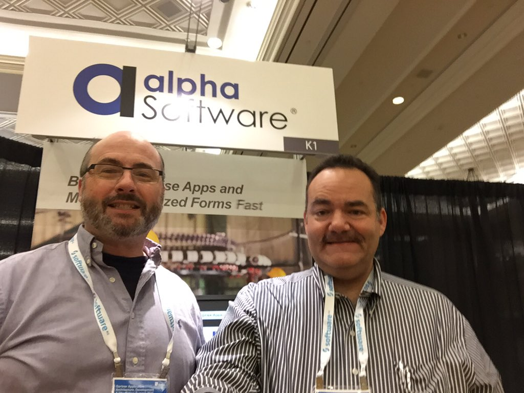 VP of Product Marketing Dave McCormick and VP of Sales Morris Porter welcome visitors to the Alpha Software booth at Gartner AADI in Las Vegas