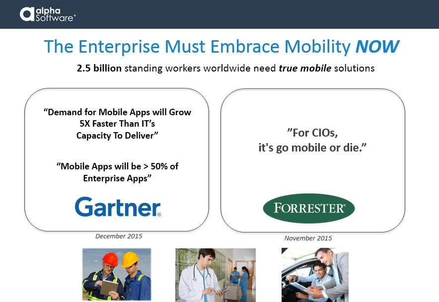 Enterprise must embrace mobility now. 2.5 billion standing workers worldwide need truly mobile solutions in the field. According to Gartner, the demand for mobile apps will grow at a rate 5x faster than IT's capacity to deliver applications. Mobile business apps will grow to compose more than 50% of enterprise applications in 2016. Forrester agrees stating, 'For CIOs, it's go mobile or die.'