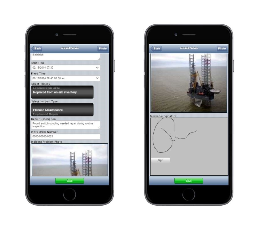 An example of an offline app built by an Alpha Anywhere customer to inspect oil platforms in the North Sea.