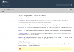 Main page of the Alpha Anywhere help documentation website.