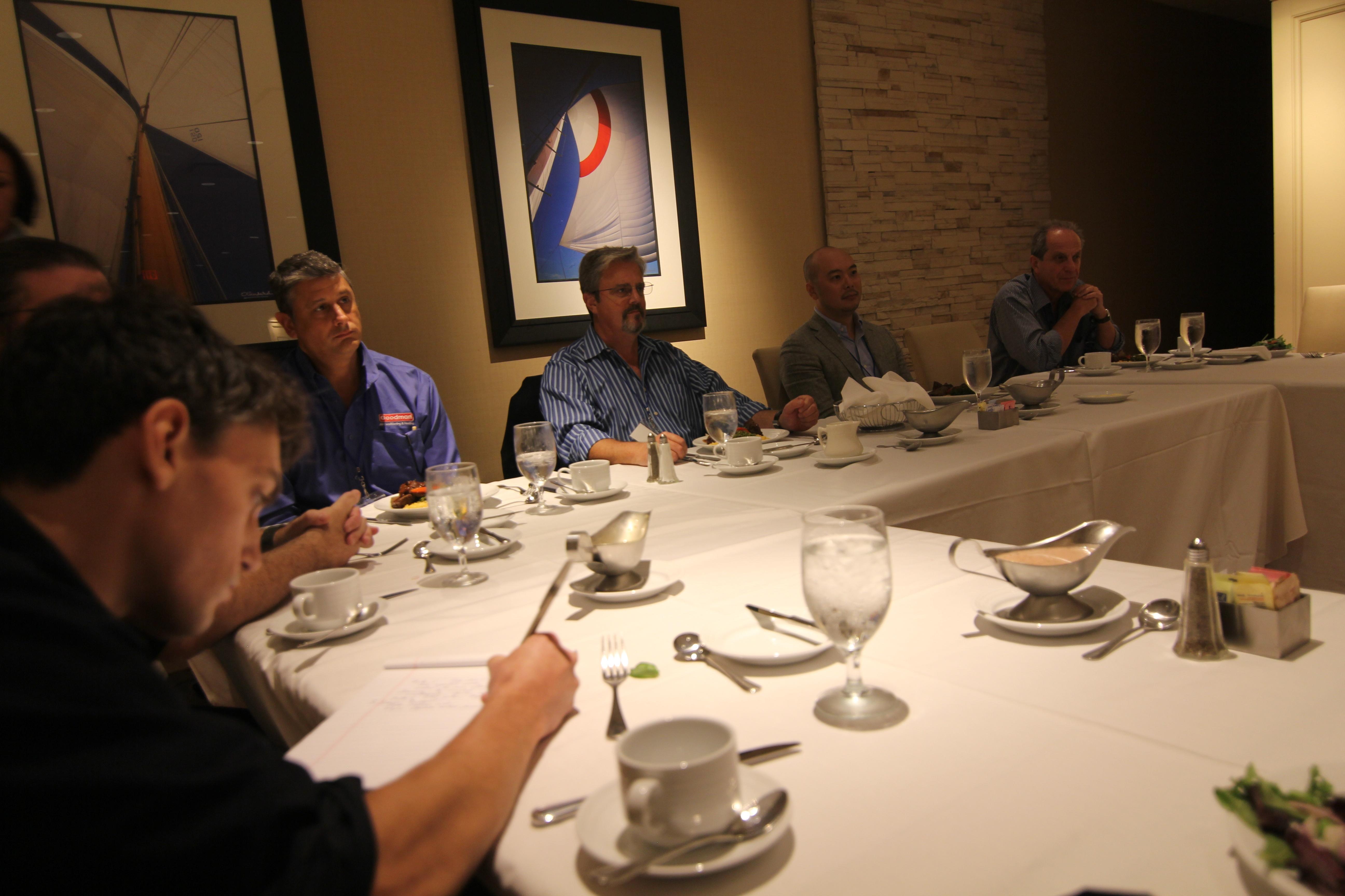 (From Left:) TechTarget's Fred Churchville, DAIKIN's Daniel Santucci, MedStar's Bruce McKinnon, Gartner's Jason Wong and Alpha Software's Selwyn Rabins during an Alpha DevCon 2016 luncheon