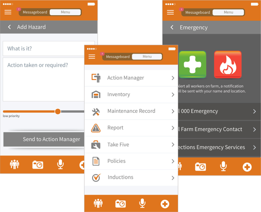 This mobile app gives farmers real-time access to their work health and safety (WHS) system on a mobile device, whether they're in the paddock or in field. (Source: Safe Ag Systems)