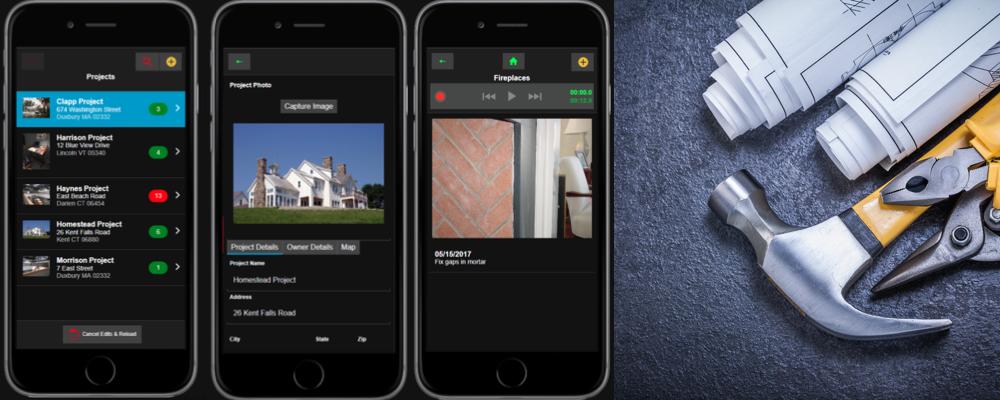 Screenshots of the Construction Punch List App
