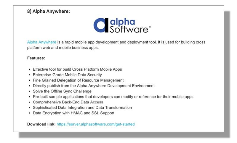 Alpha Anywhere is the only Rapid Development platform Named in the