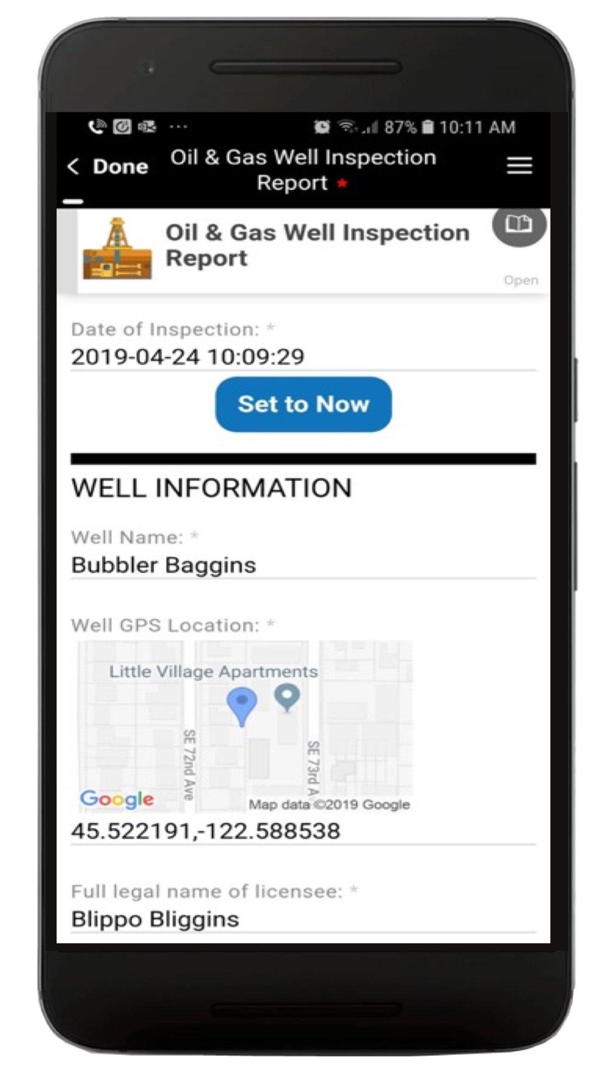 Oil Well Inspection App Screenshot 1
