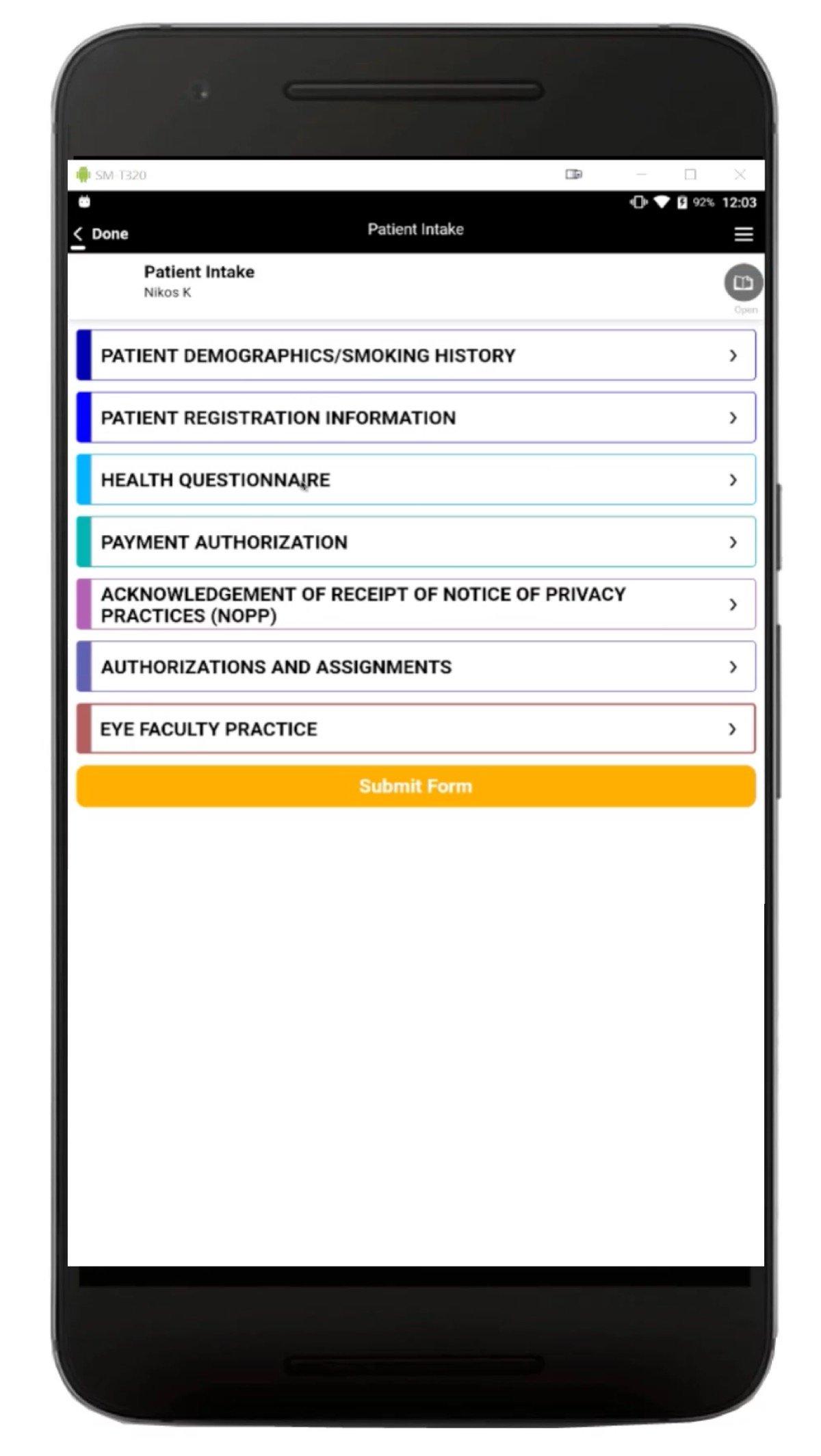 Patient Data Intake Screenshot