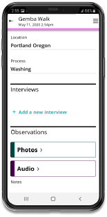 A Gemba Walk is most effective when accurate notes are taken, such as using this mobile app.