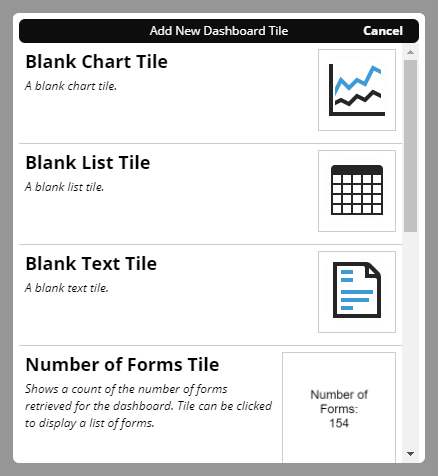 The Add New Dashboard Tile window with several chart templates shown