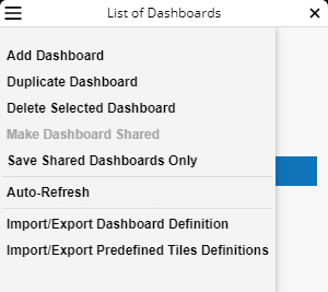 The List of Dashboards menu