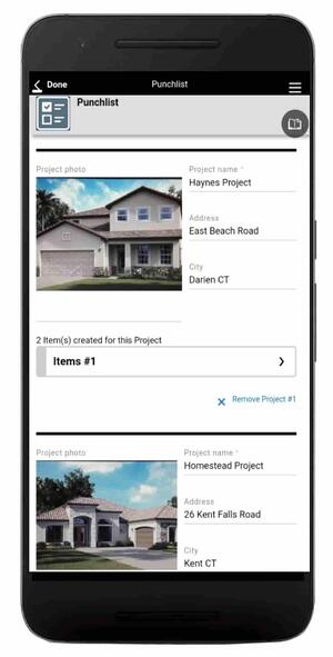 The punch list mobile app template available with Alpha TransForm.