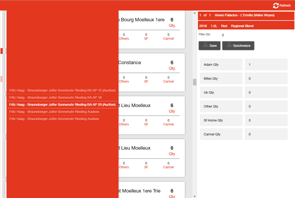 Tablet view of a data driven app