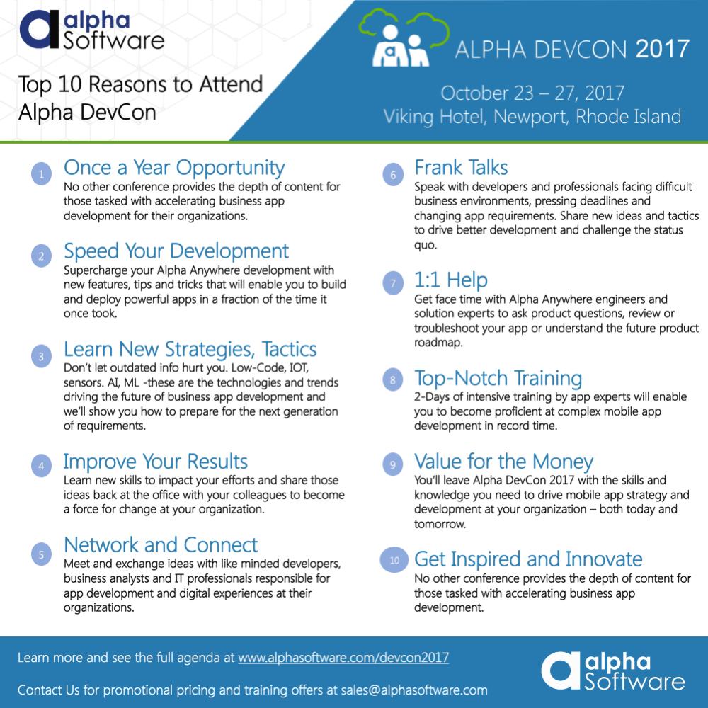 Critical Deadlines for Alpha DevCon 2017